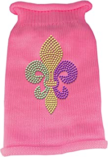 Mirage Pet Products Mardi Gras Fleur De Lis Rhinestone Knit Pet Sweater