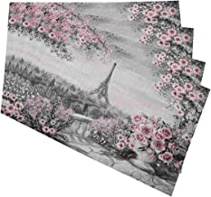 Mugod Eiffel Tower Placemats Gray Pink Oil Painting Gentle City Landscape Flower Roses and Leaf Decorative Heat Resistant ...