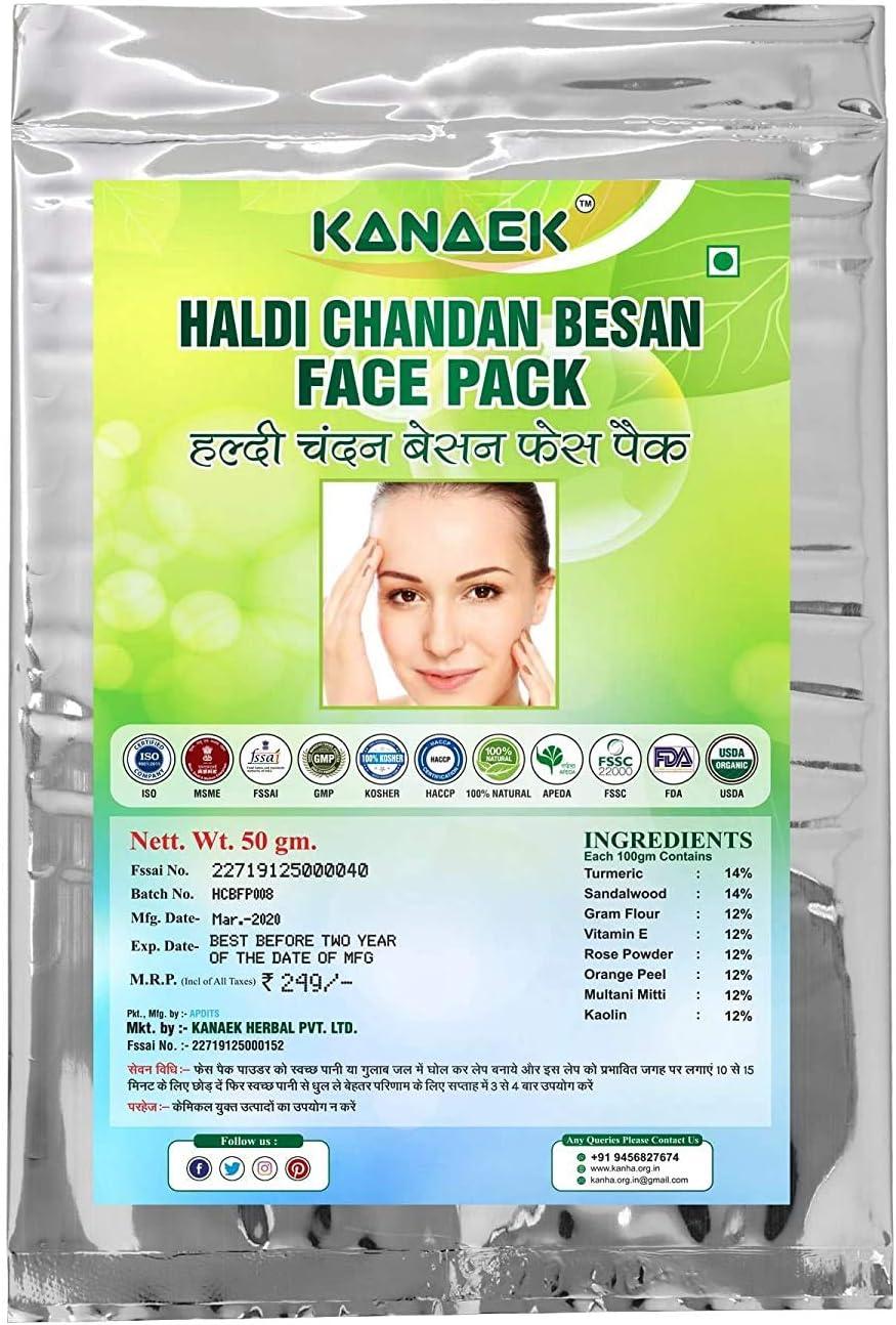 Max 50% OFF Manufacturer OFFicial shop Bellentines Kanaek Haldi Chandan Besan Face Pack Natural 100%