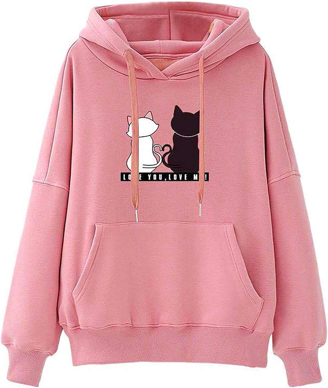 TAYBAGH Cute Hoodie for Women,Womens Teen Girls Cute Cat Printed Long Sleeve Hoodies Casual Loose Sweatshirt Blouse Tops