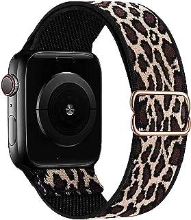 GBPOOT Solo Loop Kompatibel mit Apple Watch Armband, Nylon Sport Armband für IWatch Series 6/SE/5/4/3/2/1,Leopard,42/44mm