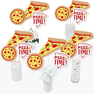 Pizza Party Time- Baby Shower or Birthday Party Centerpiece Sticks - Table Toppers - Set of 15