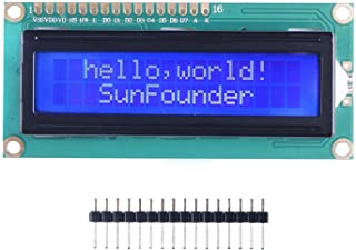 SunFounder LCD1602 Module with 3.3V Backlight for Arduino Uno R3 Mega2560 Raspberry Pi 16x2 Character White on Blue Backgr...