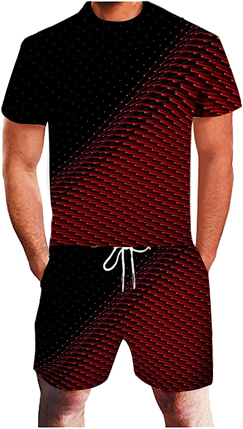 Men Tracksuit 2 Piece Outfit Casual Crew Neck Muscle Short Sleeve Tee Shirts and Classic Fit Sport Shorts Set