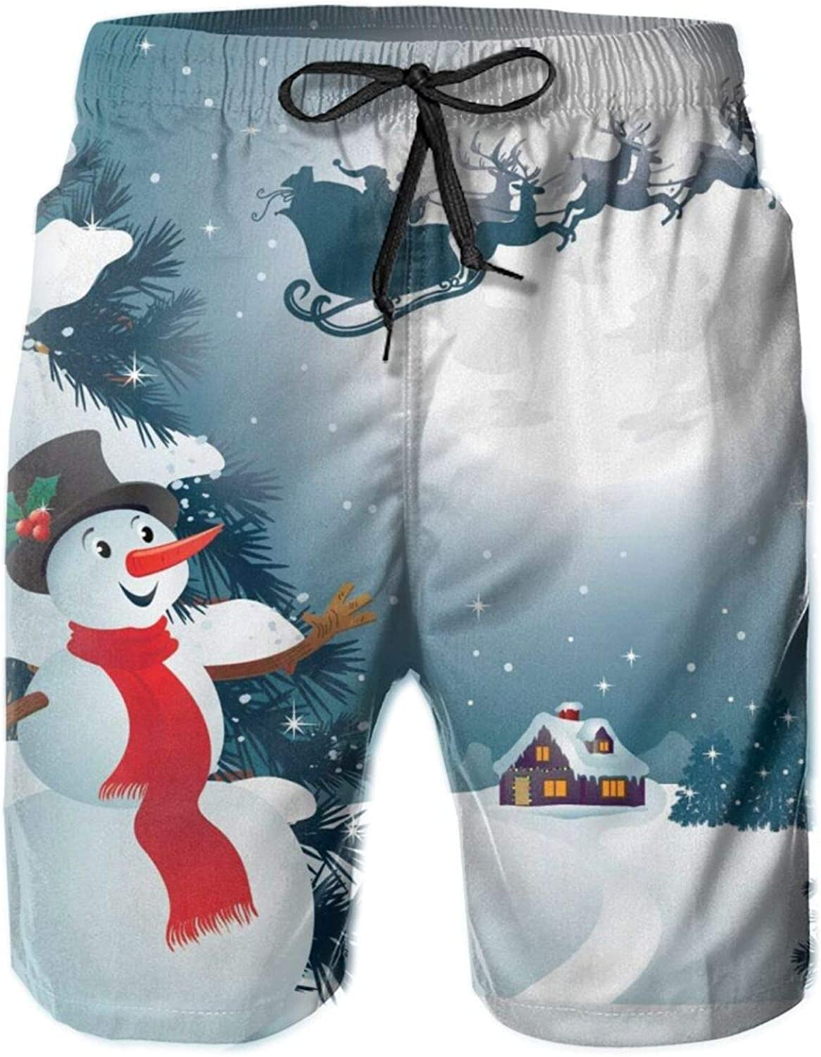 Mens Cash special price 100% Polyester Christmas Snowman Comfortable Max 67% OFF Trunks Swim B