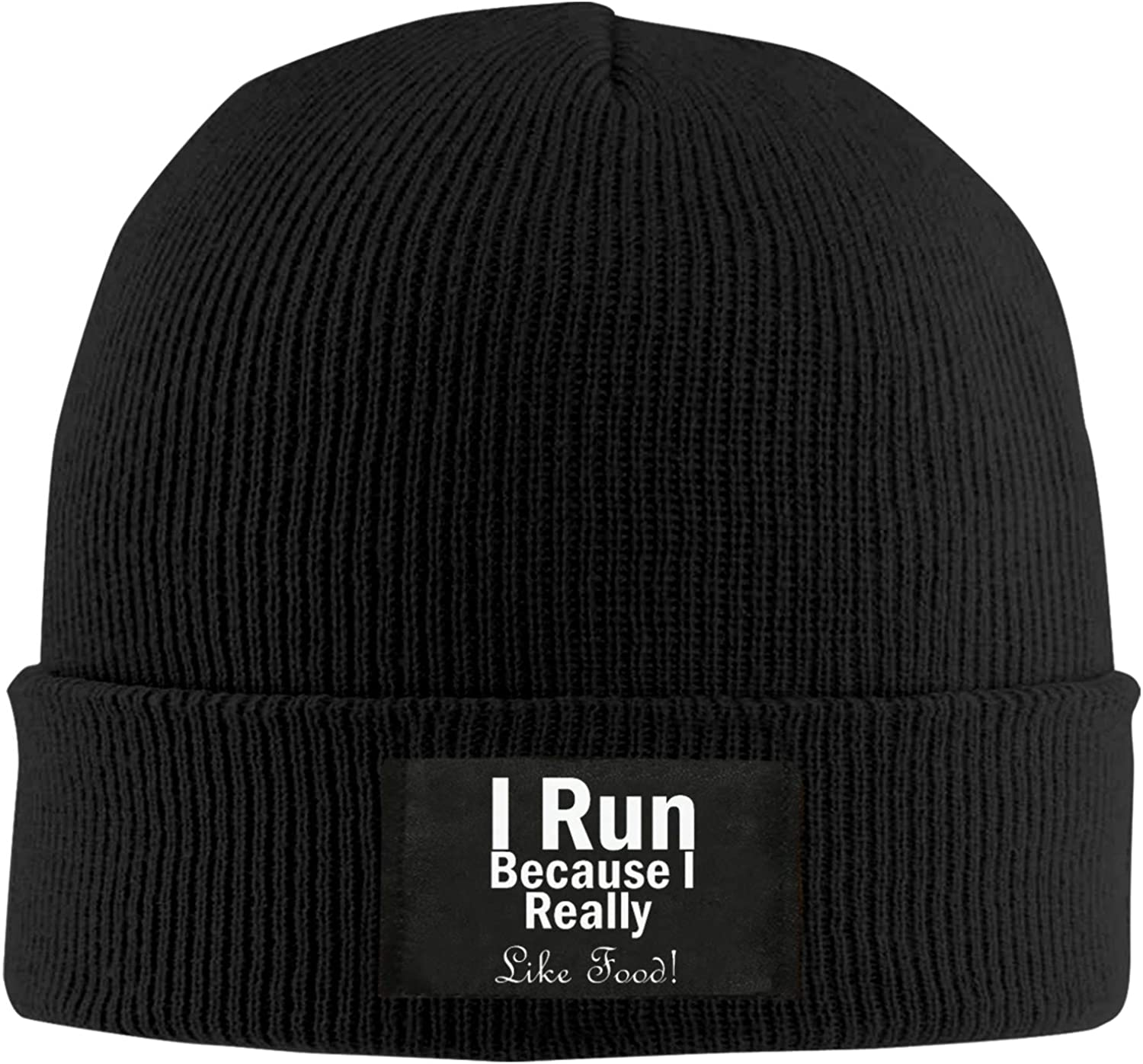DDSE I Run Because I Really Like Food Adult Hip Hop Hats Autumn Caps Unisex Acrylic Knitted Hats Winter Skullies & Beanies for Women Hat Black