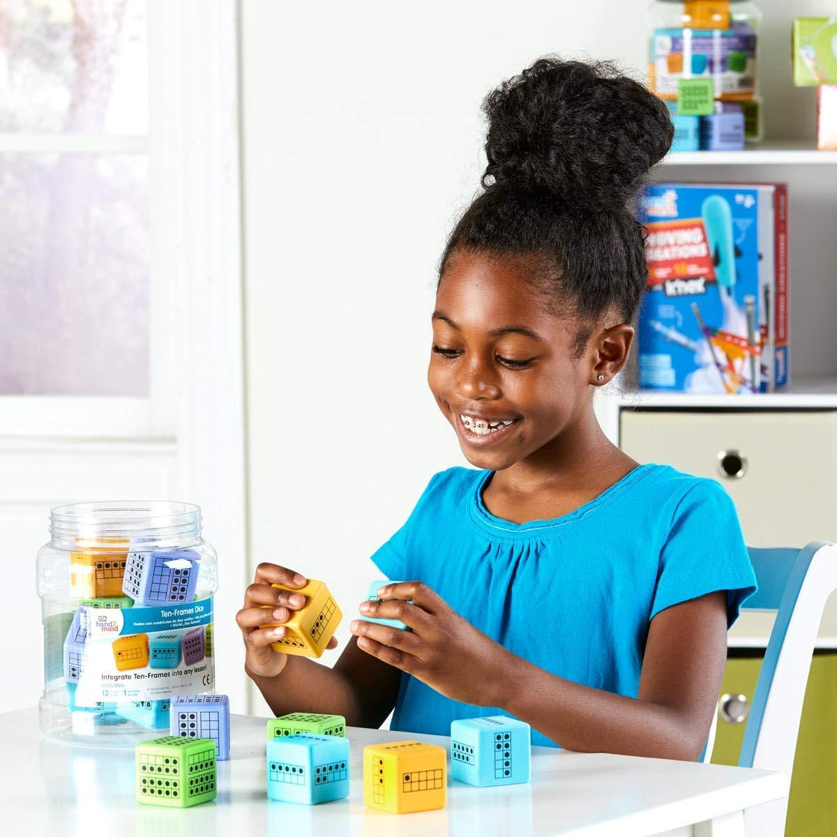hand2mind Ten Frame Math Activity Dice Set, Foam Ten Frame Math Dice, Counting Toys for Counting, Sorting, Subitizing, Ten Frame Math Manipulatives, Math Games, Classroom Supplies (Set of 12)