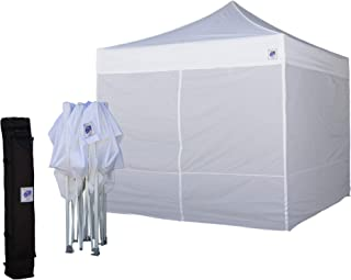 E-Z UP Event Shelter 10' x 10' (3m) EVWH10WHVP Vendor Friendly All White Pop-up Straight Leg Commercial Tent with 4 Walls Full Enclosure, Roller Bag, and 4-Piece Spike Set (Value Pack)