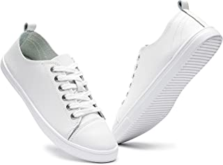 Women's Fashion Sneakers Leather Casual Shoes White Tennis Shoes Nursing Shoes Low Top Lace Up...