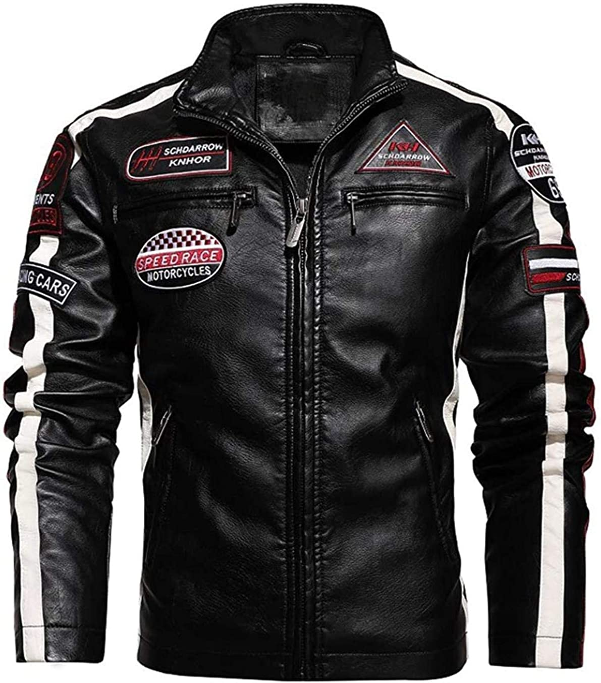 Men's Thermal Fleece Lined Patchwork Moto Racer Faux Leather Jacket