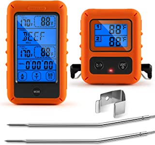 Veken Meat Thermometer for Grilling, Wireless BBQ 2 Probe Touch Screen Digital Instant Read Smoker Grill Thermometer with Large LCD, 328feet Cooking Thermometer for Oven & Roasting, Orange