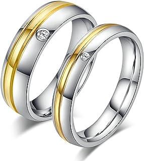 Su /& Hers 4 /& 6mm de 9 quilates de oro rosa y plata Matt /& pulido anillo de boda de conjunto
