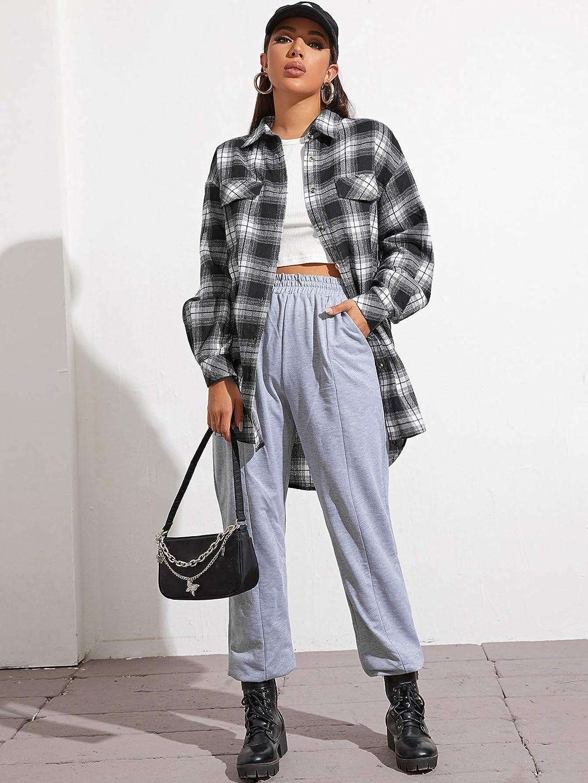 Verdusa Women's Plaid Print Button Down Drop Shoulder Longline Blouse Shirt Top