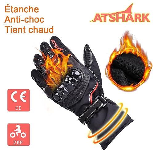 ATSHARK Gants Moto et Scooter Gant homologué Obligatoire Gant Moto Tactile  étanche Hiver Chaud épais, e24e5d763a9