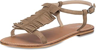 Saint G Womens TAN Suede Leather Flats