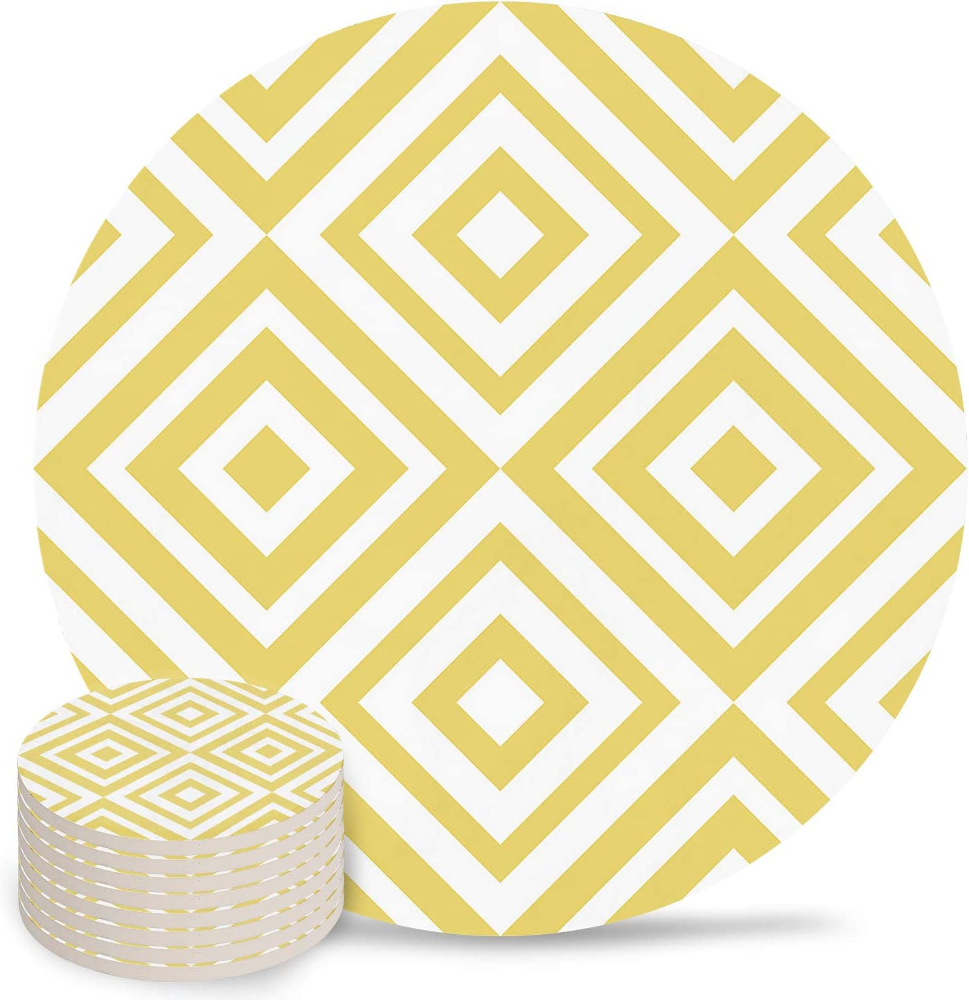Absorbent Coasters Oklahoma City Mall Ceramic Cups Place Geome Mats Albuquerque Mall Abstract Yellow