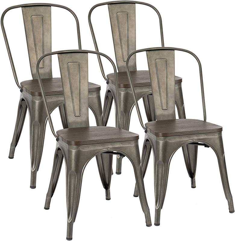 Furmax Metal Dining Chair Indoor Outdoor Use Stackable Chic Dining Bistro Cafe Side Metal Chairs Set Of 4 Gun