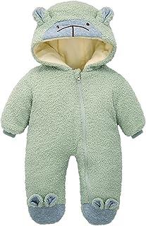 الوليد الشتاء زائد المخملية الدافئة الصوف رومبير الملابس طفل الفتيات الصبي بذلة الزي snowsuit معطف (Color : Green, Size : 3M)