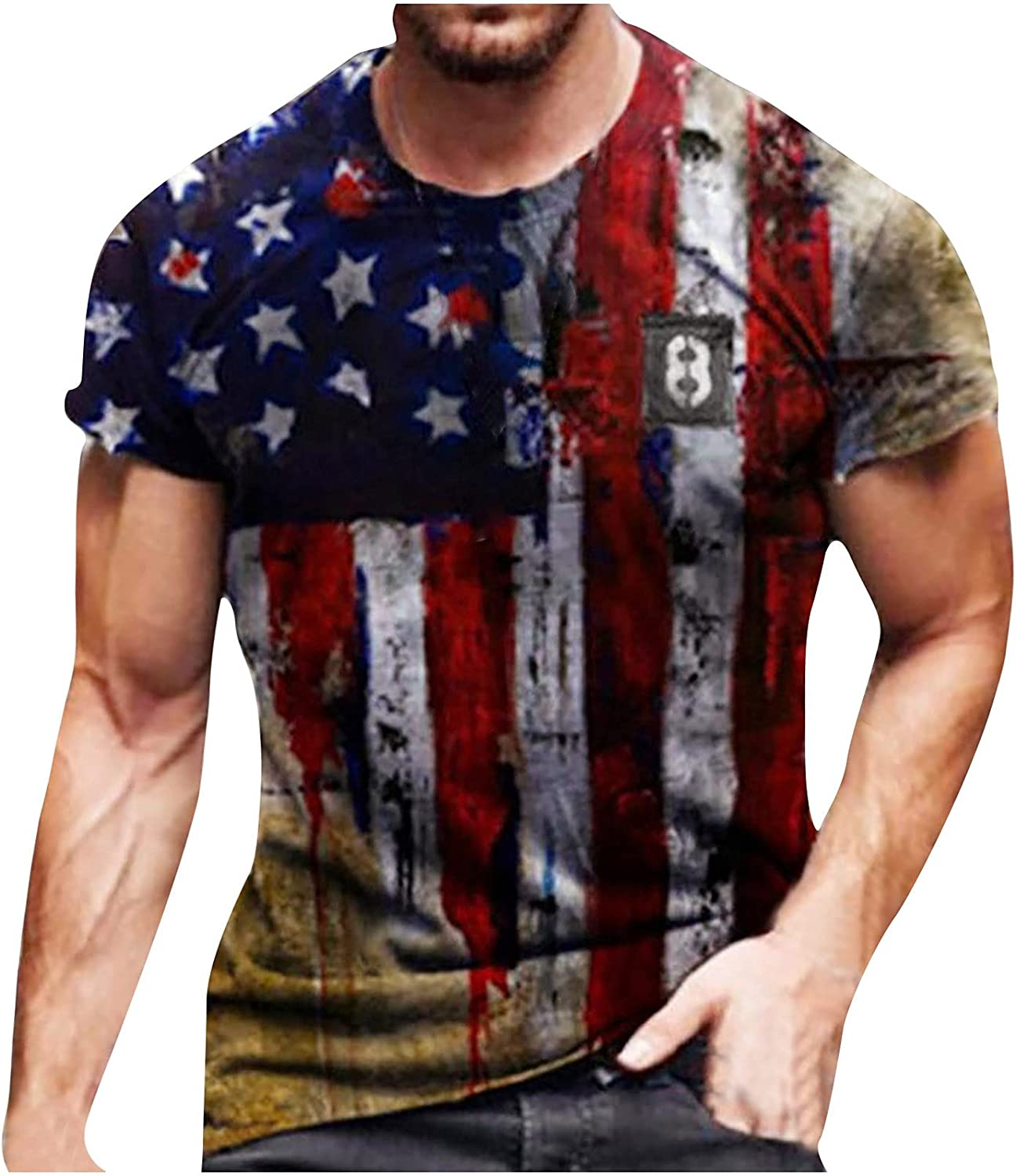 Mens American Flag T-Shirt Summer Casual Short Sleeve Graphic Print Tops Cool Muscle Workout Athletics Tee Patriotic Blouse (red01, XXXXL)