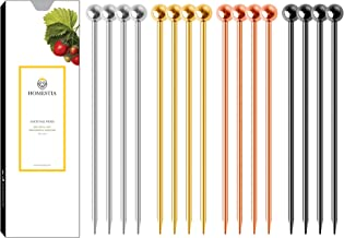 Homestia Cocktail Picks Stainless Steel Olive Skewers with Ball Top for Reusable Garnish Gift Set(4 Gold+4 Black+4 Rose+4 ...