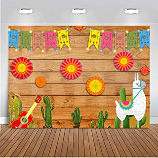 Fanghui 7x5ft Mexican Fiesta Theme Wood Photography Backdrop Mexico Cactus Guitar Alpaca Background Cinco de Mayo Colorful Flags Paper Flowers Banner Supplies Photobooth Props