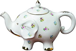 Grace Teaware Fine Porcelain Happy Elephant 28-Ounce Teapot (Floral Pansy) with Gold Trim