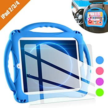 iPad 2 Case for Kids,TopEsct Shockproof Silicone Handle Stand Case Cover&(Tempered Glass Screen Protector) for Apple iPad 2nd Generation,iPad 3rd Generation,iPad 4th Generation (Blue)