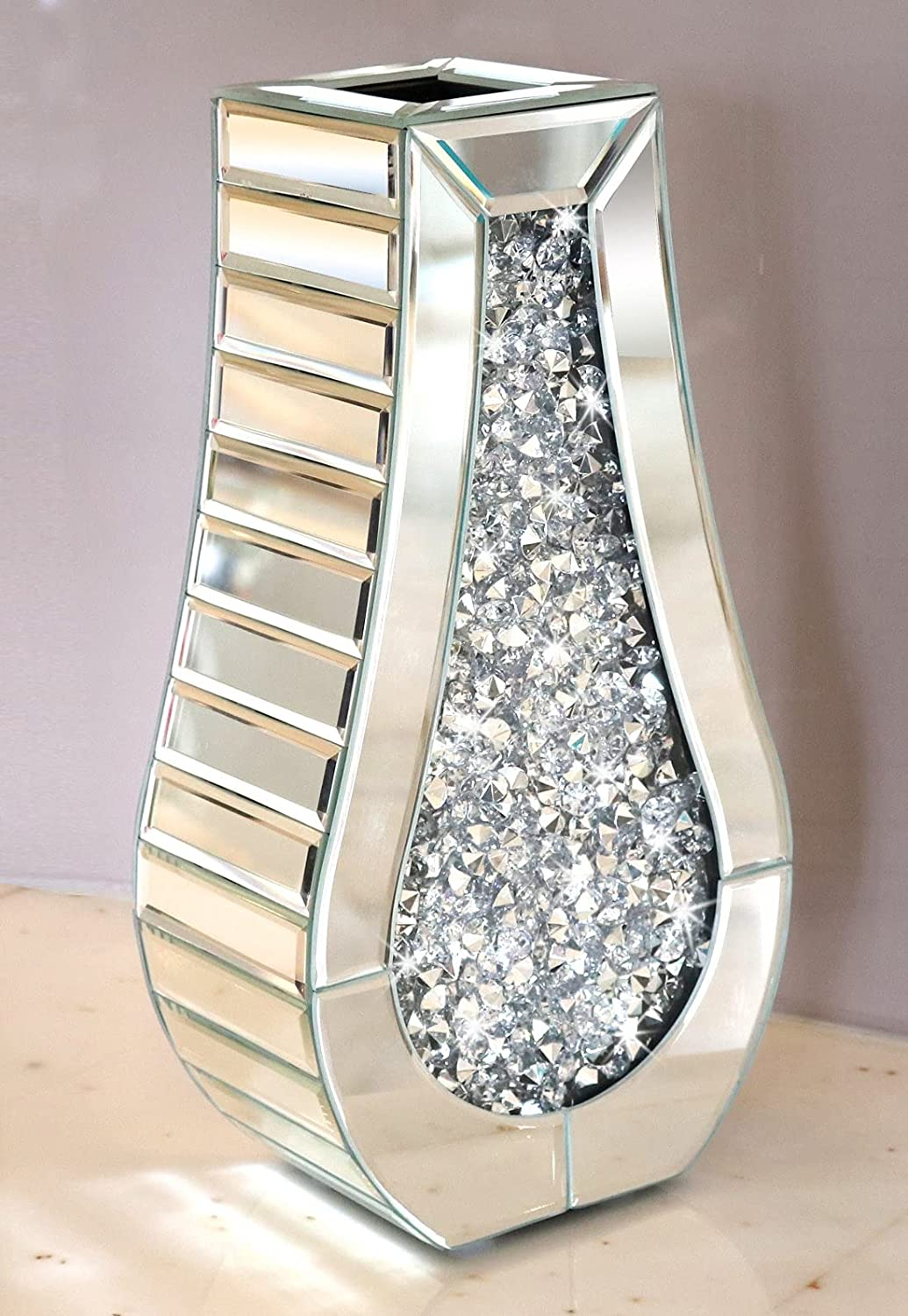 Crushed Factory outlet Diamond Mirror Choice Vase Crystal Silver Glass Decora Stunning