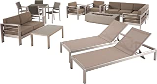 Julia Outdoor Estate Collection with Fire Pit - 4-Seat Dining Set, 3-Piece Sectional Sofa Set, 2 Club Chairs, 2 Chaise Lounges, Loveseat, Coffee Table - Aluminum - Silver, Gray, Khaki, Light Gray