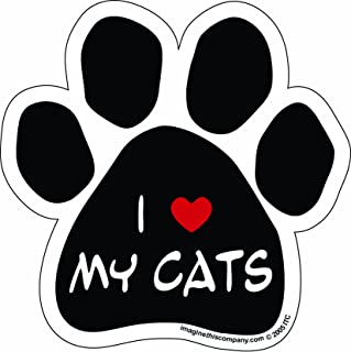 Imagine This Paw Car Magnet, I Love My Cats, 5-1/2-Inch by 5-1/2-Inch