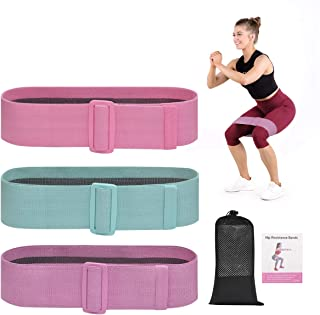 Xiazuo Workout Resistance Bands Adjustable Fabric Booty Bands Exercise Bands for Legs and Butt Non Slip Resistance Loops f...