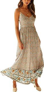 Vestido Maxi de Verano con Cuello en V Floral Sexy Boho de Las Mujeres Correa de Espagueti Ajustable sin Respaldo Cintura elástica Vestido de Verano