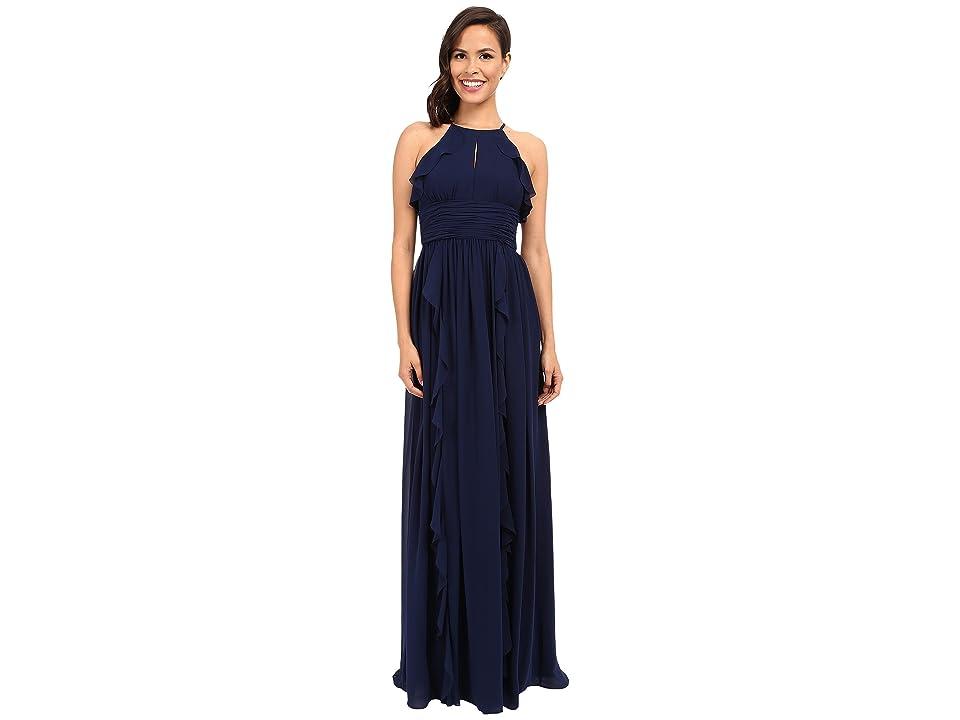 Donna Morgan Skye Cutaway Halter Gown (Midnight) Women