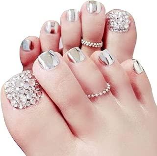 Skyvan Set of 24 False Nail for Toe Chic Exquisite Bling Rhinstones Bridal Fake Nail for Toes Full Cover Nail Tips Foot Nails