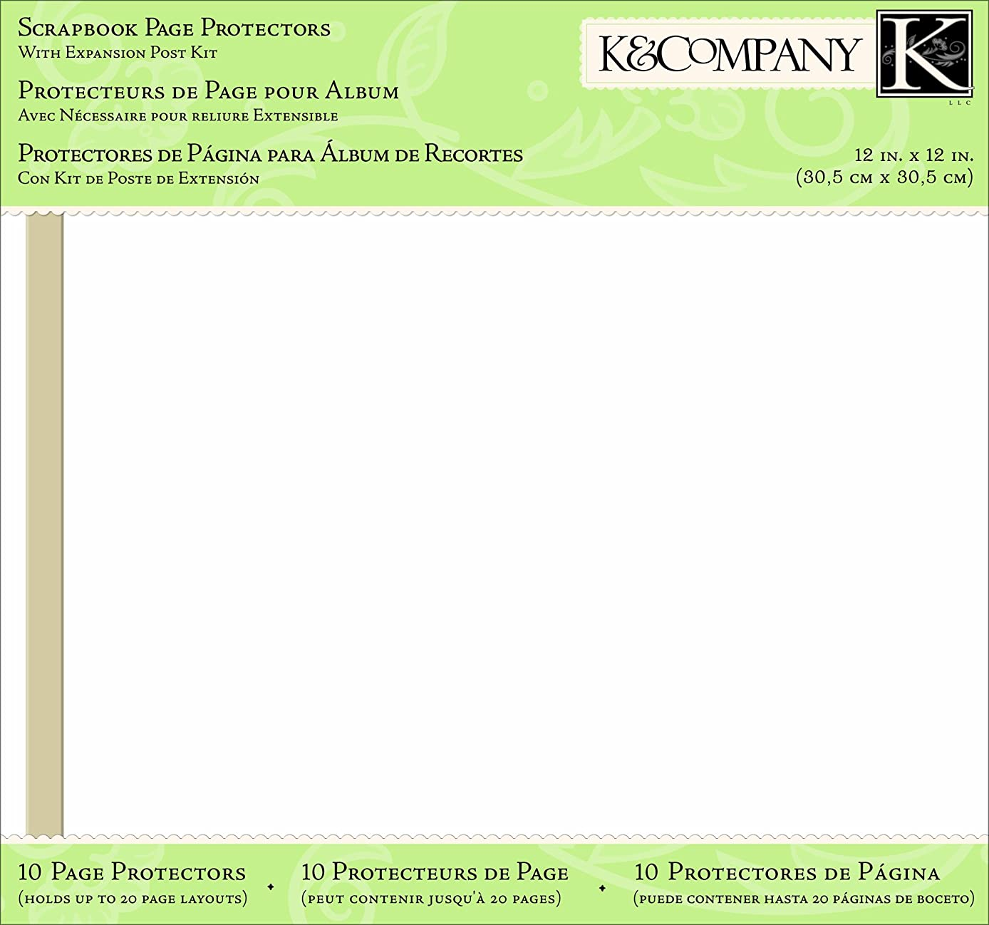 K&Company Sheet Protector Refills, 12-by-12-Inch, 10-Pages with Inserts