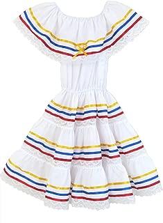Ethnic Ribbons Dress Yellow, Blue, Red, Colombian Dress, Venezuelan Dress, Ecuadorian Dress