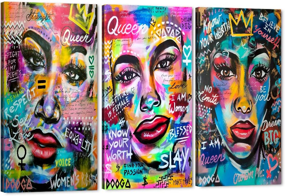 Set of 3 African American Girl 2020新作 Canvas Wall Art Black Queen 至高