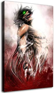 Attack on Titan Poster Japan Anime Wall Decor Posters HD Canvas Art Paintings (8x12inch,Framed)