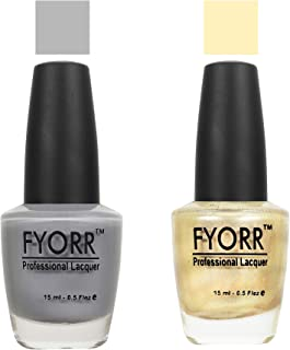 FYORR Grey To Gold Collection Nail Polish - Set of 2 (15 Ml Each)