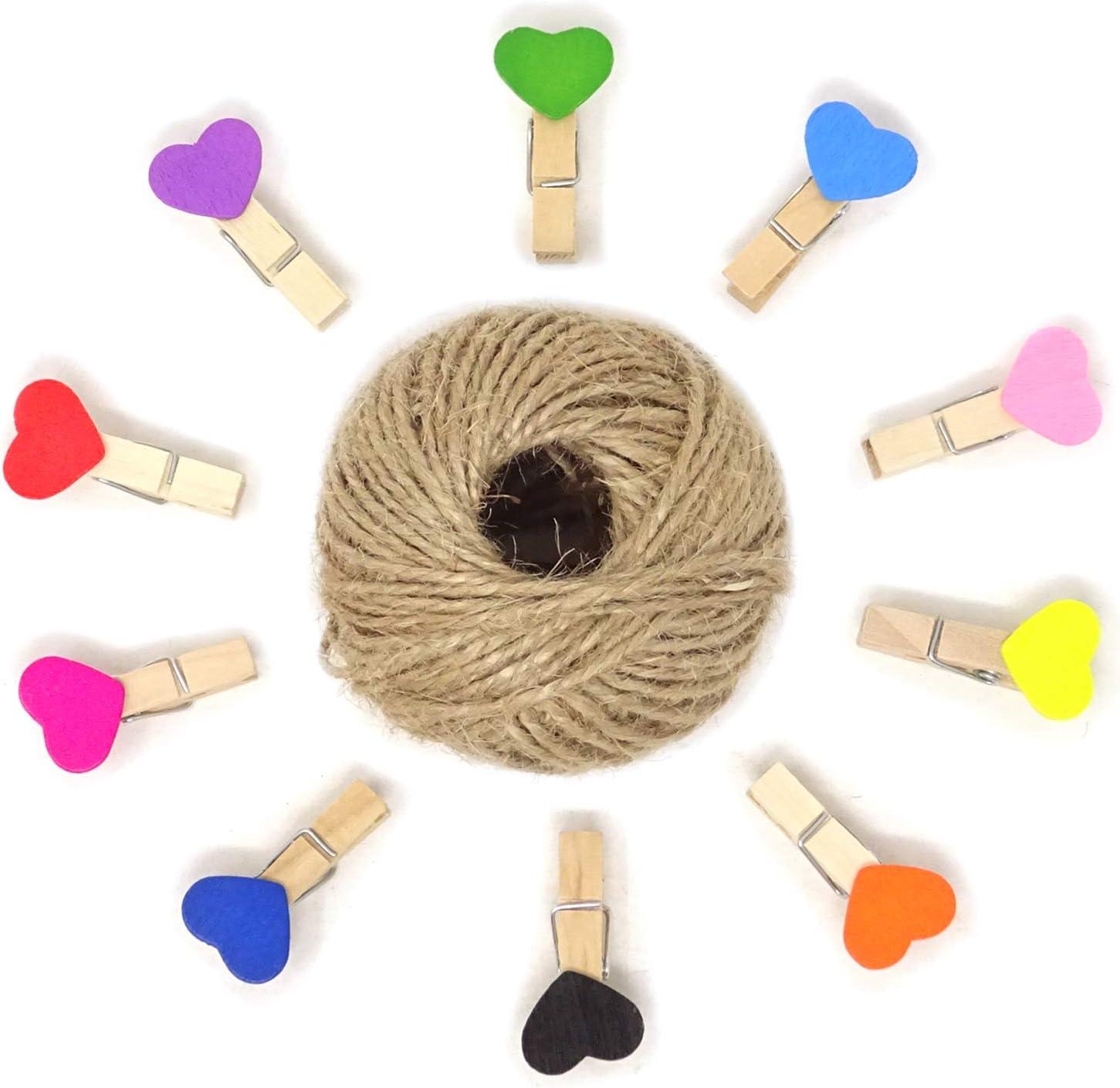 HONBAY 50PCS Ranking TOP14 3.5cm Mini Atlanta Mall Heart Shaped Colored Wooden Clothespins