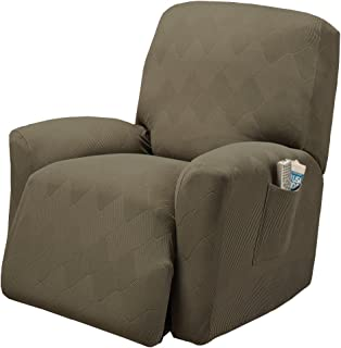 Stretch Sensations, Optic Recliner Slipcover, Standard Recliners, Perfect Chair Protection, Comfortable and Easy Stretch Fabric (Sage)
