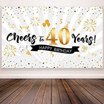40th Birthday Party Decoration Extra Large Fabric Black Gold Sign Poster For 40th Anniversary Photo Booth Backdrop Background Banner 40th Birthday Party Supplies 72 8 X 43 3 Inch Style A Amazon Co Uk Toys