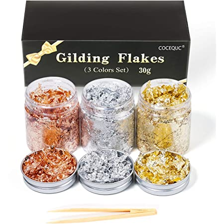 Amazon Com Gilding Flakes For Resin Gold Foil Flakes Gold Leaf With Tweezer For Nails Painting Arts And Crafts Jewelry Making Handcrafts Decorations 3 Bottle 30 Grams Arts Crafts Sewing