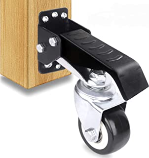 SOLEJAZZ Workbench Caster kit 4 Heavy Duty Retractable Workbench Caster Wheel All Steel Construction Urethane Wheels, Bonus Install Template[New Version]
