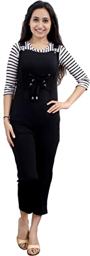 ELENDRA Girl s Casual Wear Slim Fit Stretchable Soft Fabric Jumpsuit JKBGJS Black 10 11 Years