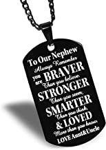 FAINOL Nephew Gifts from Aunt and Uncle - to Our Nephew, Always Remember You're Braver Than You Believe. Black Dog Tag Necklace