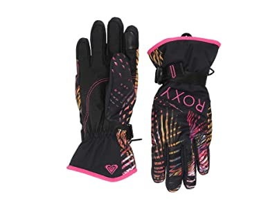 Roxy Jetty Snow Gloves (True Black Night Palm) Ski Gloves