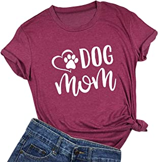 YUYUEYUE Dog Mom T Shirt Women's Dog Lover Casual Letter Print Short Sleeve Tops Tee Blouse