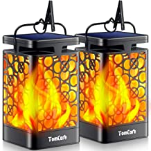 TomCare Solar Lights Upgraded Solar Lantern Flickering Flame Outdoor Hanging Lantern Decorative Lighting Solar Powered Wat...
