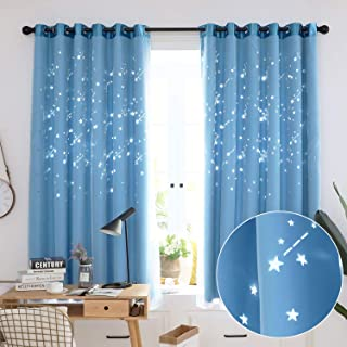 Hughapy Kids Blackout Curtains Tulle Overlay Star Cutouts Curtain Double Layer Blackout Window Drape for Living Room Bedroom 1Pc   W59 x L79 100